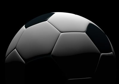 Soccer ball isolated on black background. Photorealistic 3D rendering.