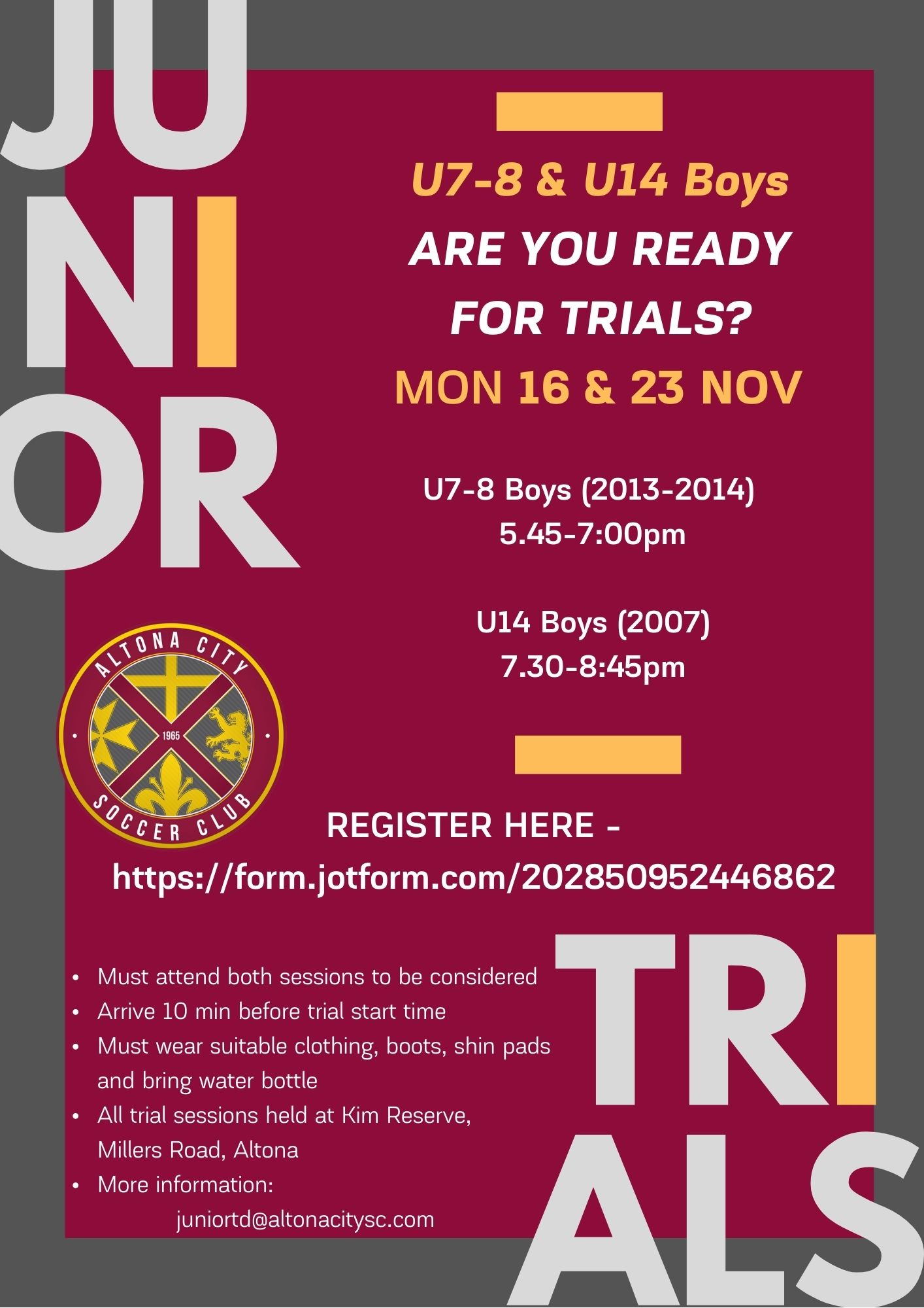 junior trials 2021