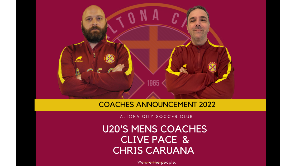 Announcing our U20's Men's Coaches for 2022